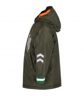 Green jacket for kids with logo
