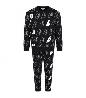 Black suit for kids with glow-in-the-dark white ghosts
