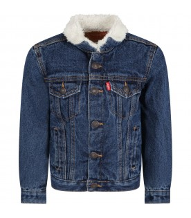 Blue jacket for kids with red logo