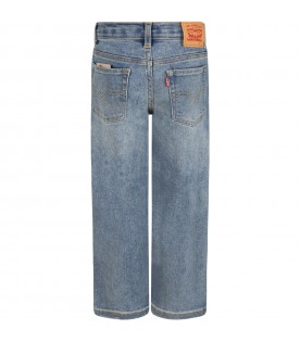 Light-blue jeans for kids with logo