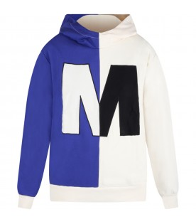 Multicolor sweatshirt for kids with black and ivory logo