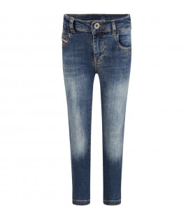 Denim blue jeans for kids with logo