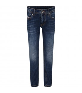 Blue jeans for boy with patch logo