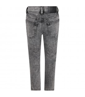 Gray jeans for boy with black logo