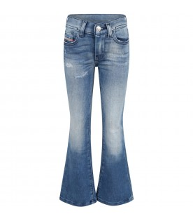 Blue jeans for girl with black logo