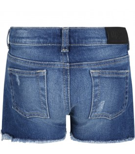 Blue shorts for girl with logo