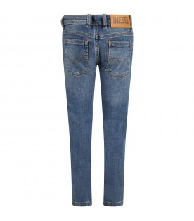 Light-blue jeans for boy with beige patch logo