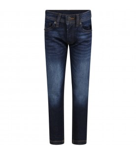 Blue jeans for boy with beige patch logo