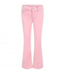 Pink jeans for girl with white logo