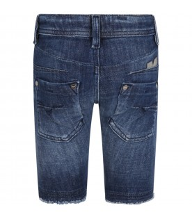 Blue bermuda shorts for girl with logo