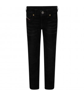 Black jeans for boy with logo