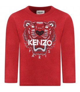 Burgundy T-shirt for kids with tiger and logo