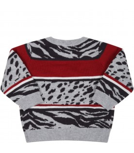 Gray sweater for baby boy with black logo