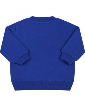Blue sweatshirt for baby boy with logo and tiger