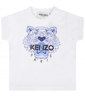 White T-shirt for babykids with blue tiger