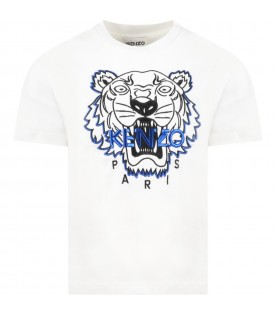 White T-shirt for boy with blue tiger