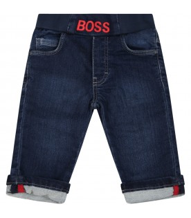 Blue jeans for baby boy with red logo