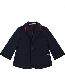 Blue jacket for baby boy with patch logo