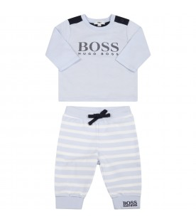 Light-blue set for baby boy with logo