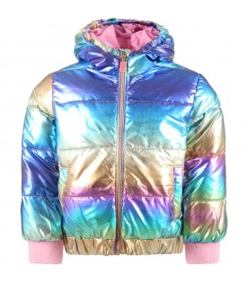 Multicolor jacket for girl with patch logo