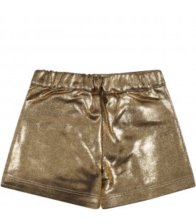 Golden shorts for baby girl with iconic buttons