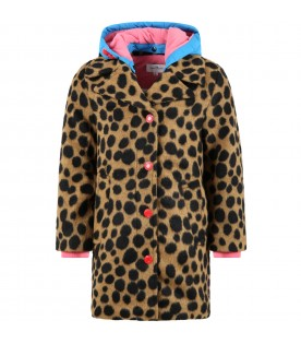 Brown coat for girl with pink logo