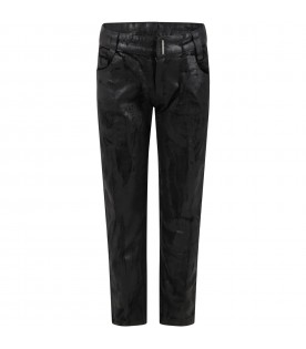 Black trousers for girl with patch logo