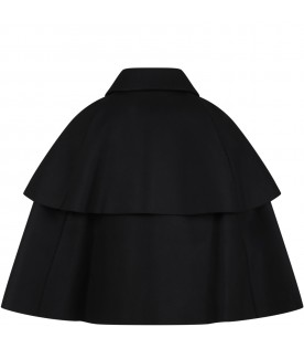 Black cape for girl with metallic logo