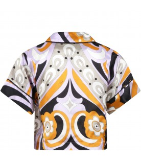 Multicolor shirt for girl with black logo