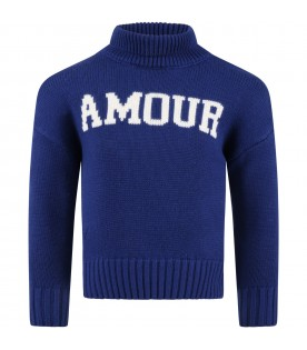 Blue sweater for kids with Amour writing