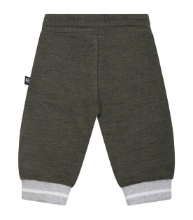 Green trackpants for baby boy with patch logo