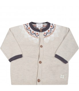 Beige cardigan for baby boy with patch logo