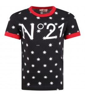 Black t-shirt for kids with stars