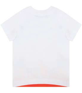 White t-shirt for baby boy with flames