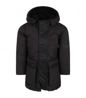 Black jacket for boy with patch