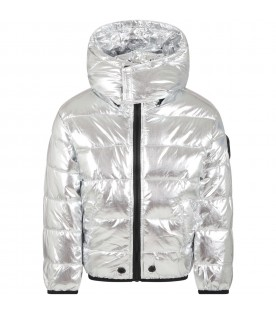 Silver jacket for kids with iconic patch
