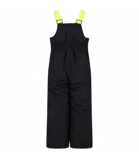 Black overalls for boy with iconic patch