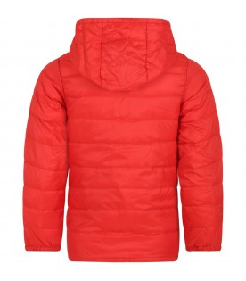 Red wind jacket for boy with logo