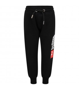 Black sweatpants for boy with white logo
