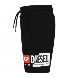 Black shorts for boy with logo