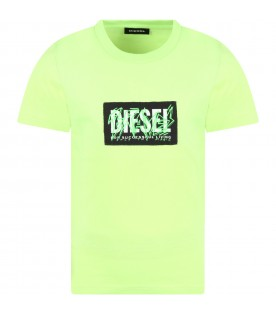 Neon green t-shirt for boy with logo