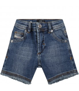 Blue bermuda shorts for baby boy with patch logo