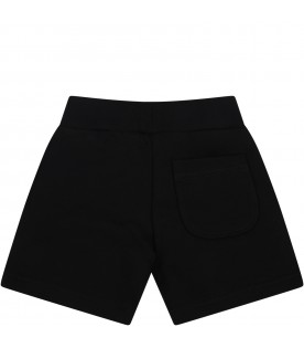 Black shorts for baby boy with logo