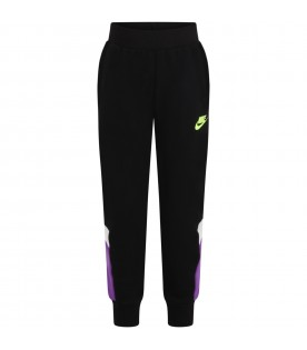 Black sweatpants for kids with green logo