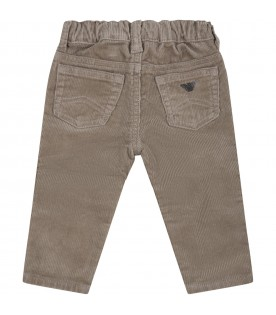 Beige trousers for baby boy with patch logo