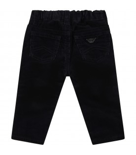 Blue trousers for baby boy with patch logo