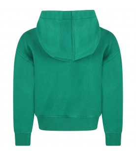 Green sweatshirt for kids with bear and logo