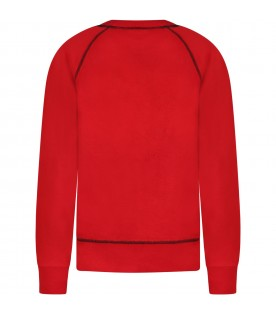 Red sweatshirt for kids with white logo