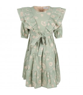 Green dress for girl with embroidered details