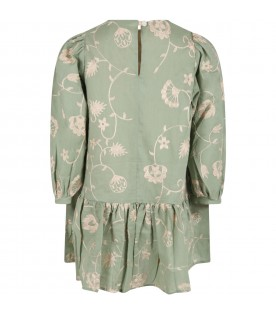 Green dress for girl with beige embroidery